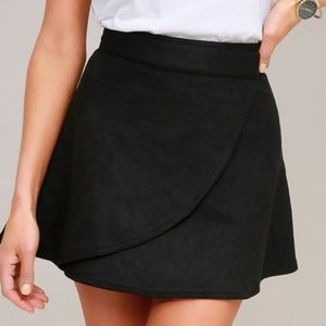 Black Suede Wrap Skirt